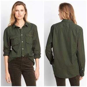 Vince Utility Shirt Army Green Button Up Silk XS